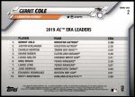 2020 Topps #2   -  Gerrit Cole AL ERA Leader Back Thumbnail
