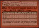 1982 Topps Traded #44 T Kent Hrbek  Back Thumbnail