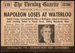 1954 Topps Scoop #115 xCOA  Napoleon Loses At Waterloo Back Thumbnail