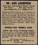 1948 Leaf #60  Gus Lesnevich  Back Thumbnail