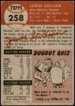 1953 Topps #258  Jim Gilliam  Back Thumbnail