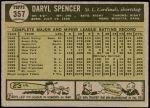 1961 Topps #357  Daryl Spencer  Back Thumbnail