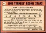 1969 Topps #114   -  Alan Closter / John Cumberland Yankees Rookies   Back Thumbnail