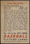 1951 Bowman #105  Don Kolloway  Back Thumbnail
