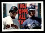 1995 Topps #388   -  Ken Griffey Jr.  /  Barry Bonds All-Star Front Thumbnail