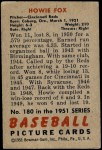 1951 Bowman #180  Howard Fox  Back Thumbnail