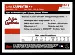 2006 Topps #261   -  Chris Carpenter NL Cy Young Award Back Thumbnail