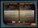 2001 Topps #750   -  Grady Sizemore / Dave Krynzel Draft Picks Back Thumbnail