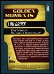 2001 Topps #788   -  Lou Brock Golden Moments Back Thumbnail