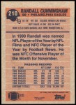 1991 Topps #210  Randall Cunningham  Back Thumbnail