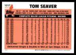 2001 Topps Traded #107 T  -  Tom Seaver 83  Back Thumbnail