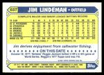 1987 Topps Traded #65 T Jim Lindeman  Back Thumbnail