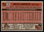 1981 Topps #60  Willie Randolph  Back Thumbnail