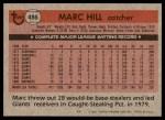 1981 Topps #486  Marc Hill  Back Thumbnail