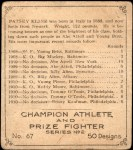 1910 C52 Imperial Tobacco #67  Patsey Kline  Back Thumbnail