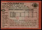 1983 Topps #246  Tom Cousineau  Back Thumbnail