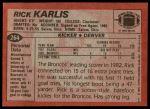 1983 Topps #264  Rich Karlis  Back Thumbnail