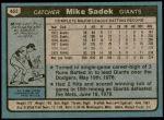 1980 Topps #462  Mike Sadek    Back Thumbnail