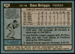 1980 Topps #352  Dan Briggs  Back Thumbnail