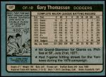 1980 Topps #127  Gary Thomasson  Back Thumbnail
