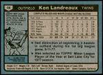 1980 Topps #88  Ken Landreaux  Back Thumbnail