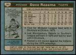 1980 Topps #288  Dave Rozema  Back Thumbnail