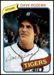 1980 Topps #288  Dave Rozema  Front Thumbnail