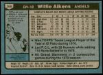 1980 Topps #368  Willie Aikens   Back Thumbnail