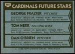 1980 Topps #684   -  Tom Herr / George Frazier / Dan O'Brien  Cardinals Rookies Back Thumbnail