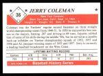 1979 TCMA The 1950's #36  Jerry Coleman  Back Thumbnail
