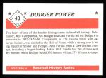 1979 TCMA The 1950's #43   -  Duke Snider / Gil Hodges / Roy Campanella / Carl Furillo Dodger Power Back Thumbnail