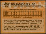 1988 Topps #750  Bo Jackson  Back Thumbnail