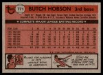 1981 Topps Traded #771 T Butch Hobson  Back Thumbnail