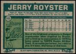 1977 Topps #549  Jerry Royster  Back Thumbnail