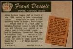 1955 Bowman #291  Frank Dascoli  Back Thumbnail