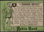 1957 Topps Robin Hood #5   I Demand Justice Back Thumbnail