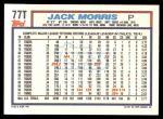 1992 Topps Traded #77 T Jack Morris  Back Thumbnail