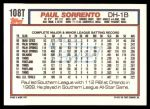 1992 Topps Traded #108 T Paul Sorrento  Back Thumbnail