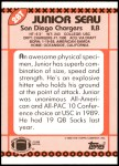 1990 Topps Traded #28 T Junior Seau  Back Thumbnail