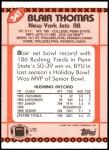 1990 Topps Traded #34 T Blair Thomas  Back Thumbnail