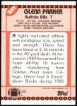 1990 Topps Traded #109 T Glenn Parker  Back Thumbnail
