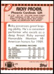1990 Topps Traded #121 T Ricky Proehl  Back Thumbnail