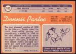 1970 Topps #185  Dennis Partee  Back Thumbnail