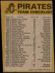 1974 Topps Red Team Checklist   Pirates Team Checklist Back Thumbnail