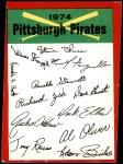 1974 Topps Red Team Checklist   Pirates Team Checklist Front Thumbnail