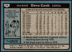 1980 Topps #14  Dave Cash  Back Thumbnail