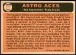1966 Topps #273   -  Rusty Staub / Bob Aspromonte Astros Aces Back Thumbnail