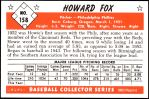 1953 Bowman REPRINT #158  Howard Fox  Back Thumbnail
