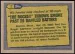 1987 Topps #1   -  Roger Clemens Record Breaker Back Thumbnail