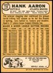 1968 Topps #110 A Hank Aaron  Back Thumbnail